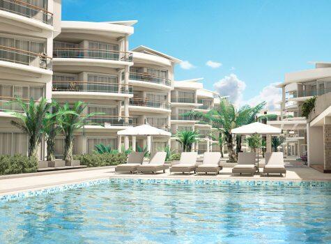 Люксовые апартаменты Playa Coral на первой линии у моря в Пунта-Кане (Доминиканская республика) - Вид на бассейн